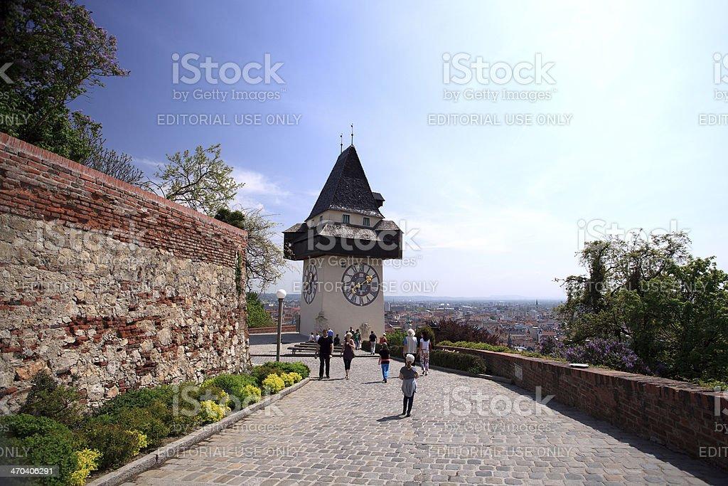 Grazer Uhrturm, Clock tower stock photo
