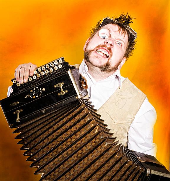 Grazy accordion musician stock photo