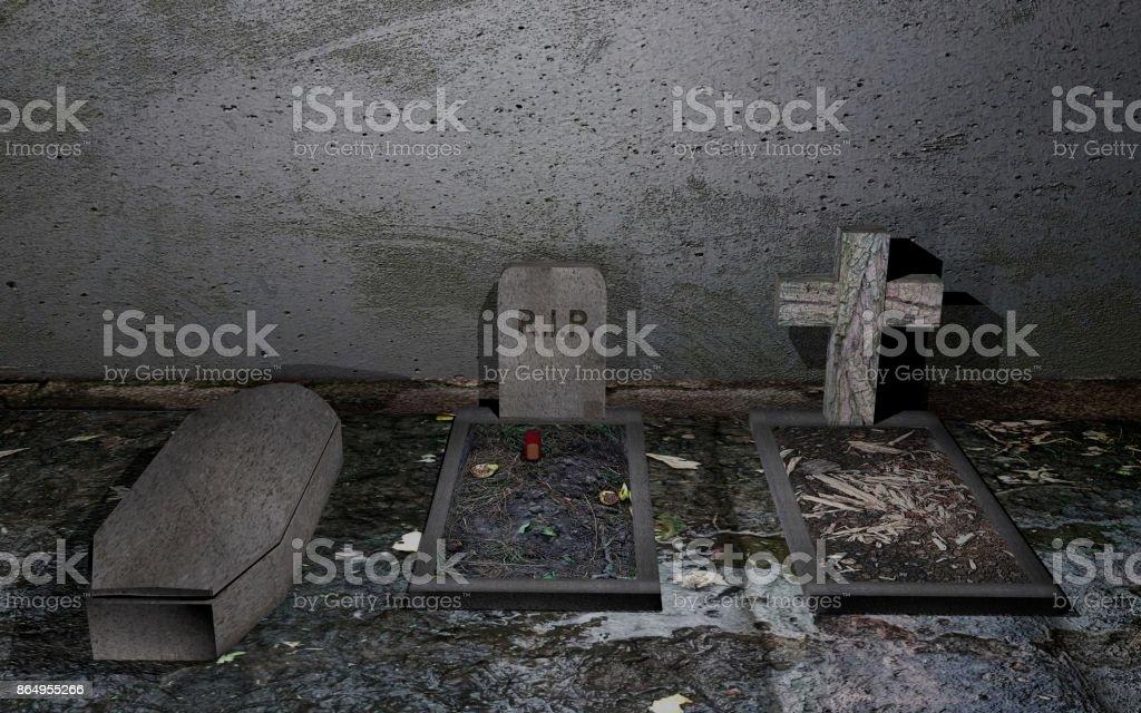 Gräber Vor Einer Verwitterten Zauberstab Mit Schlammigen Boden – Foto