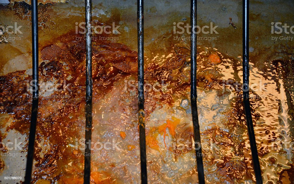 Grease left over in roasting pan stock photo