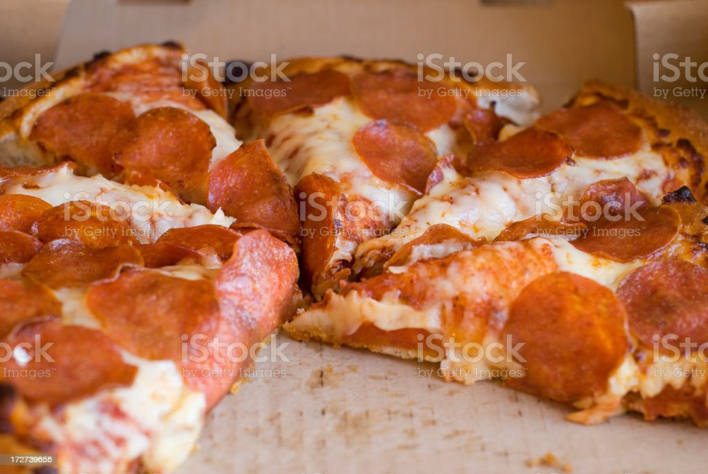 Greasy Pepperoni Pizza royalty-free stock photo