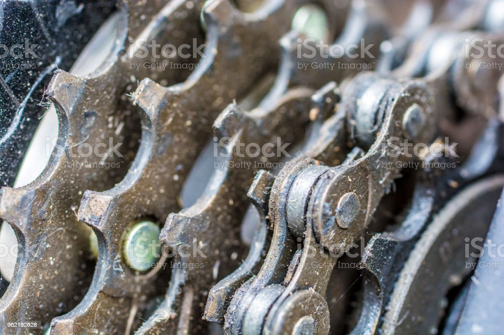 Greasy pinions of a mountain bike in closeup stock photo