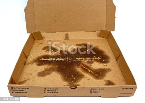 Greasy pizza box with dried mozzarella and crust crumbs. Horizontal.-For more jars, boxes, containers, bottles, and bags click here.  JARS, BOXES, CONTAINERS, BOTTLES, and BAGS