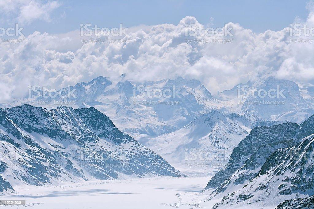 Great Aletsch Glacier, Jungfrau Switzerland stock photo