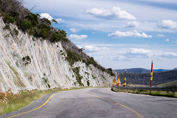 Great Alpine Road The Great Alpine Road at Mount Hotham apostrophe stock pictures, royalty-free photos & images