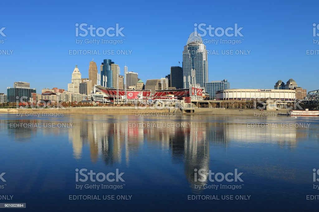 Great American Ballpark in Cincinnati across the Ohio River stock photo