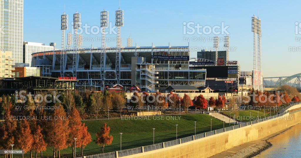 Great American Ballpark in Cincinnati by the Ohio River stock photo