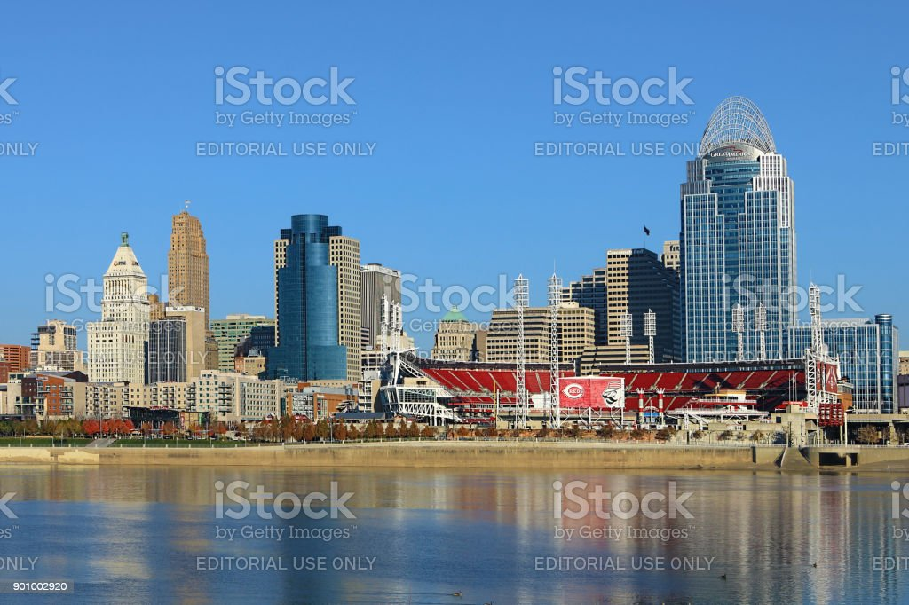 Great American Ballpark in Cincinnati with Ohio River in foreground stock photo