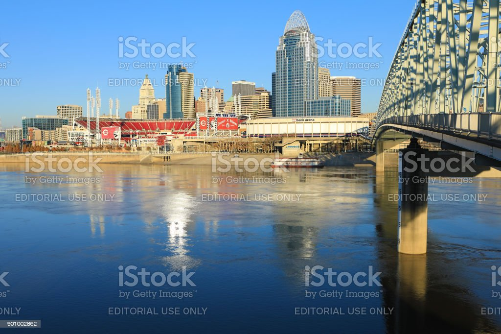 Great American Ballpark in Cincinnati with Ohio River in front stock photo