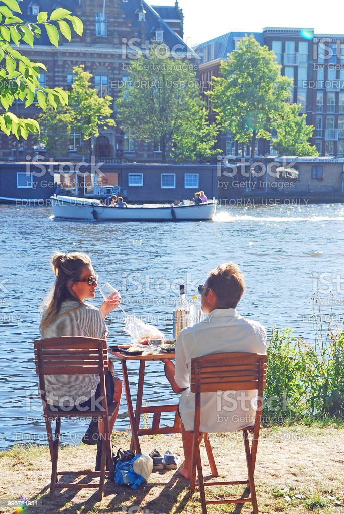 A great and simple picnic by the river stock photo