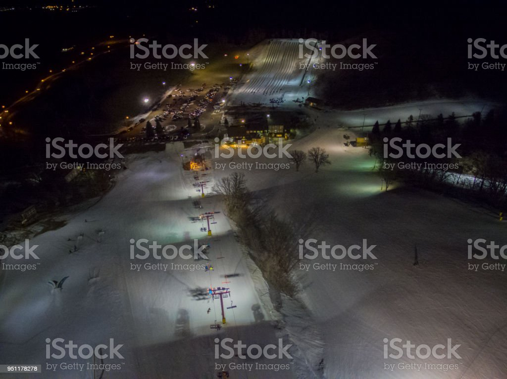 Great Bear is a Ski and Snowboard Hill in Sioux Falls, South Dakota during the Winter stock photo