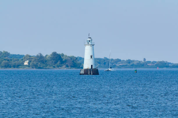 Great Beds Lighthouse in Raritan Bay stock photo