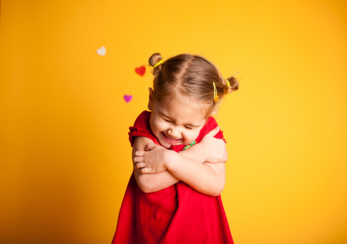Great Big Valentine Hug, Cute Girl Hugging Herself