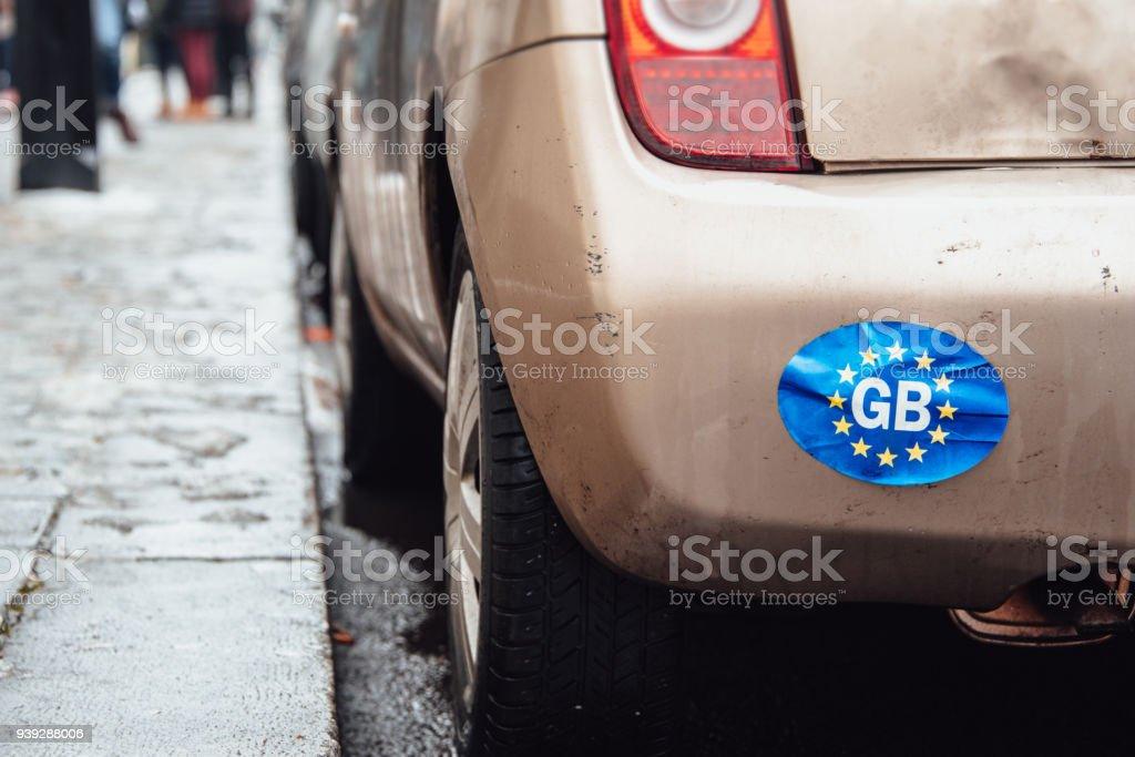 Großbritannien und EU Flagge Aufkleber auf Auto – Foto