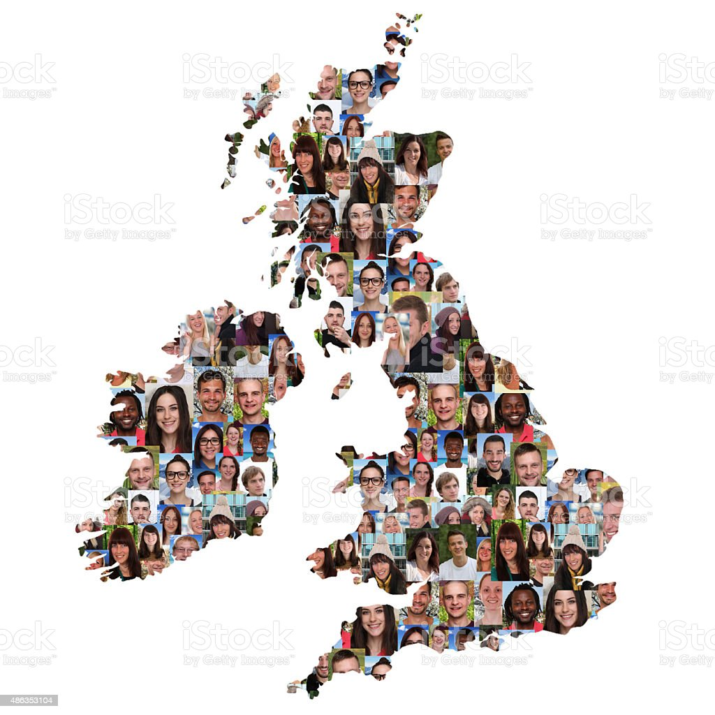 Great Britain And Ireland Map Multicultural Group Of Young