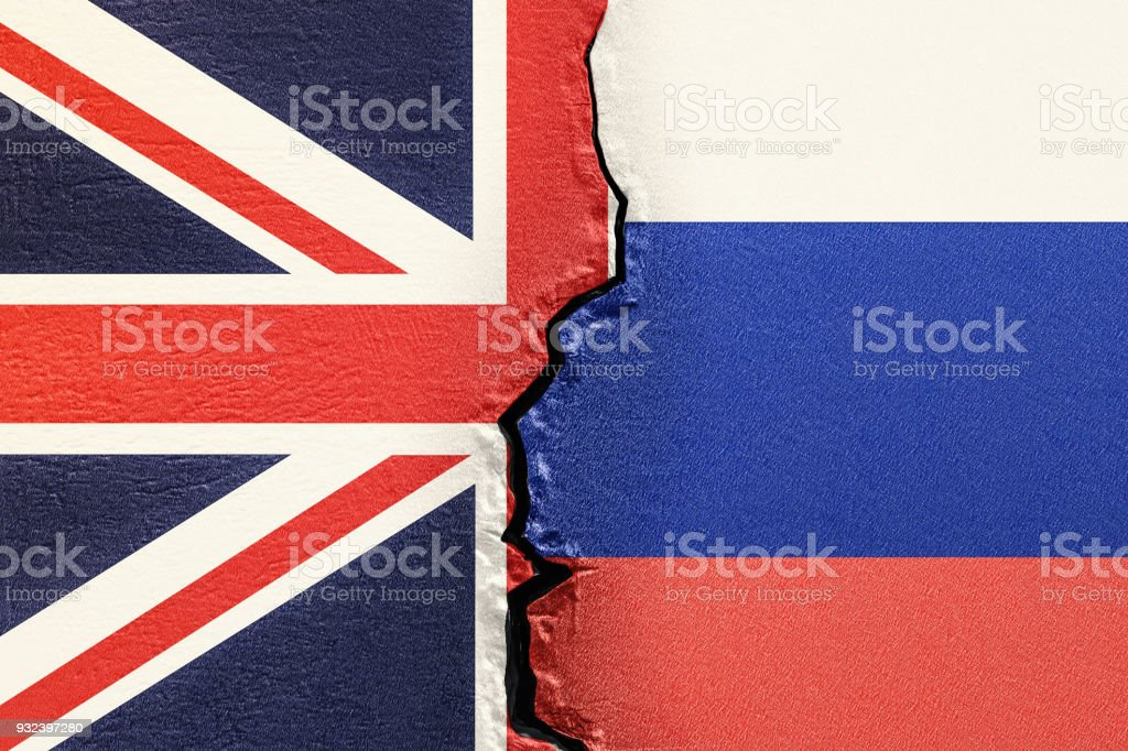 Great Britain and Russia, political conflict concept. 3D rendering stock photo