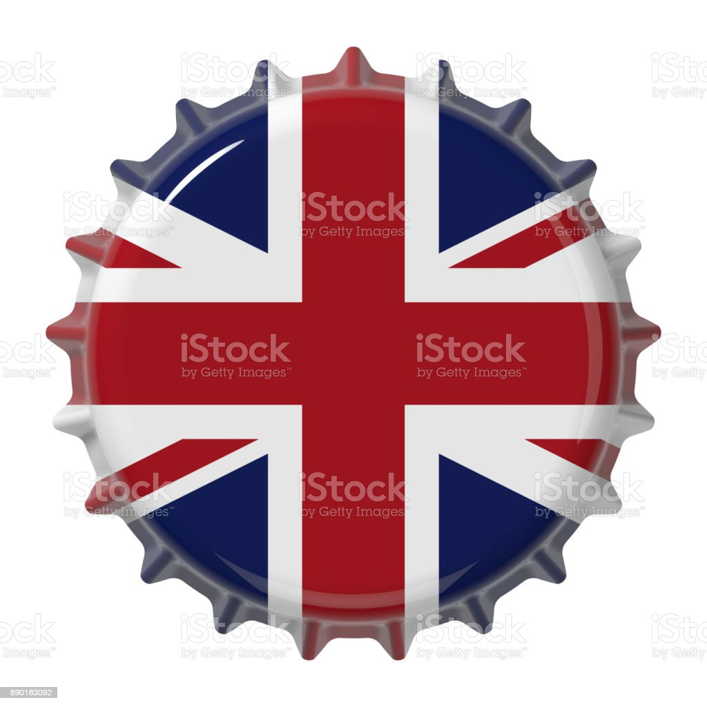Great Britain flag on bottle cap. 3D rendering stock photo