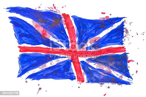 istock Great Britain flag painted by hand and watercolors 944453738