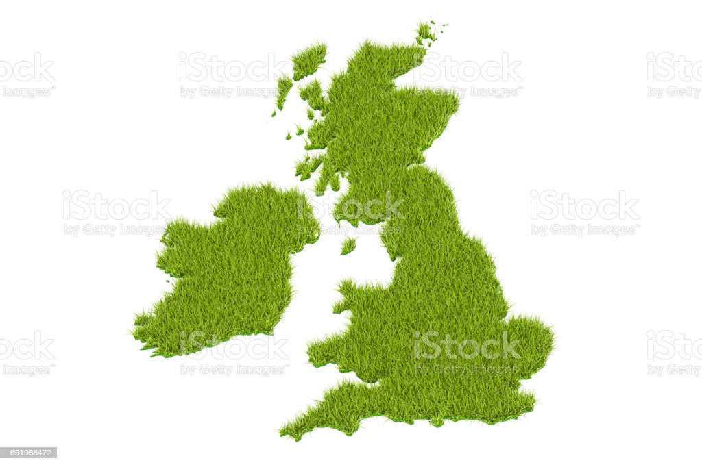Great Britain map from green grass, 3D rendering isolated on white background stock photo