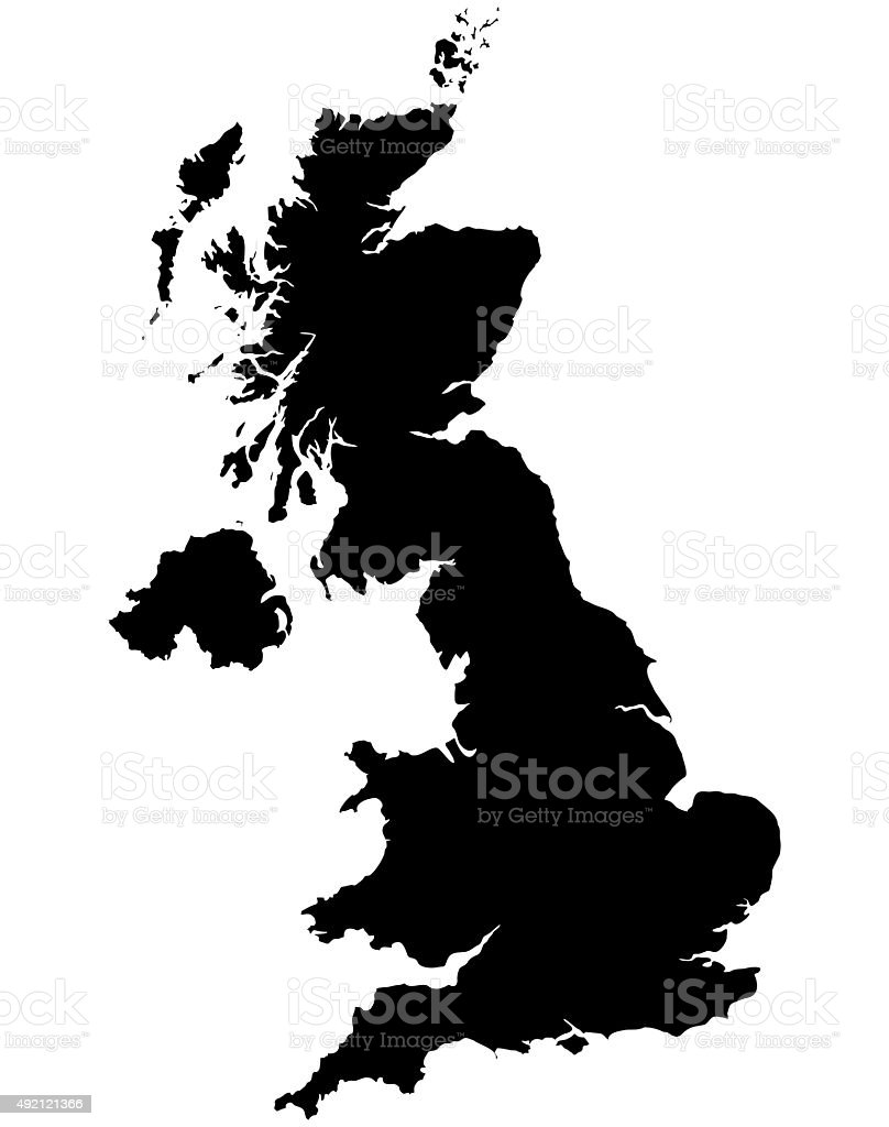 Great Britain Map Silhoette Outline Borders on White Background stock photo