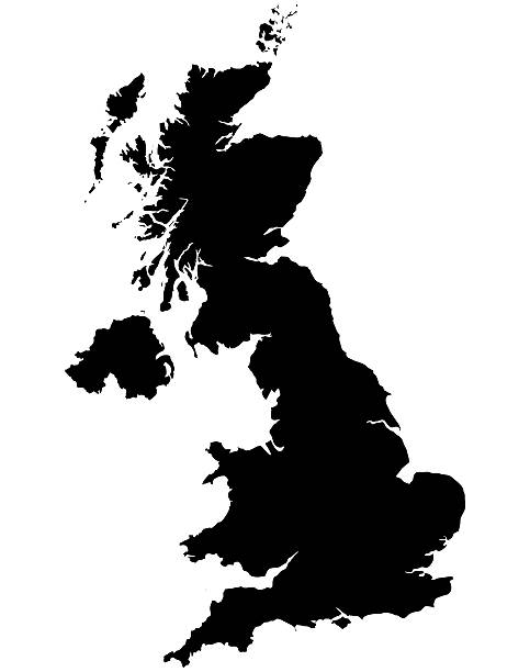 Great Britain Map Silhoette Outline Borders on White Background Great Britain Map Outline on white background. Professional digitally created image.   uk map stock pictures, royalty-free photos & images
