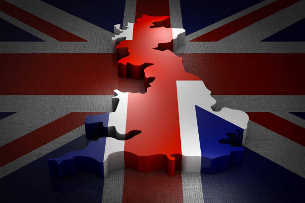 Great Britain on the flag Volumetric map of the Great Britain on the flag. 3d rendering. uk map stock pictures, royalty-free photos & images