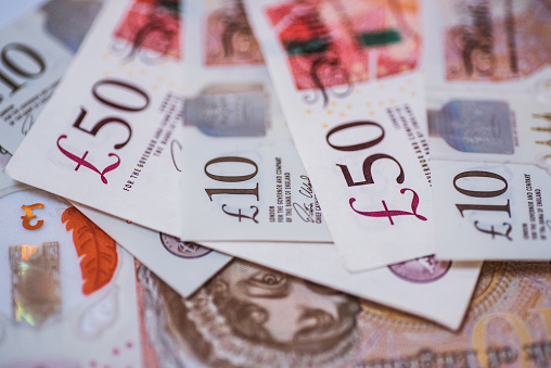 Different Great Britain Pound (GBP) currency bills detail