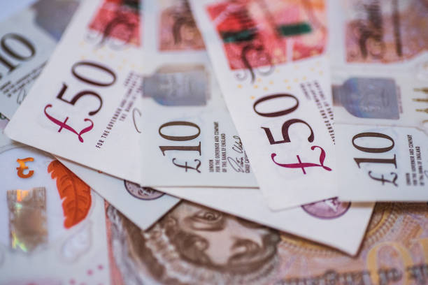 Great Britain Pound (GBP) currency bills stock photo