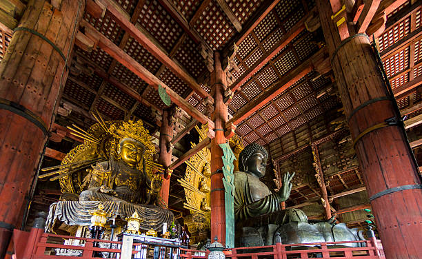 Great Buddha and kokuzo bodhisattva Nara, Japan - October 6, 2015: The Daibutsuden at Nara has the world's largest bronze statue of the Buddha and other two Bodhisattava (seen left). bodhisattva stock pictures, royalty-free photos & images