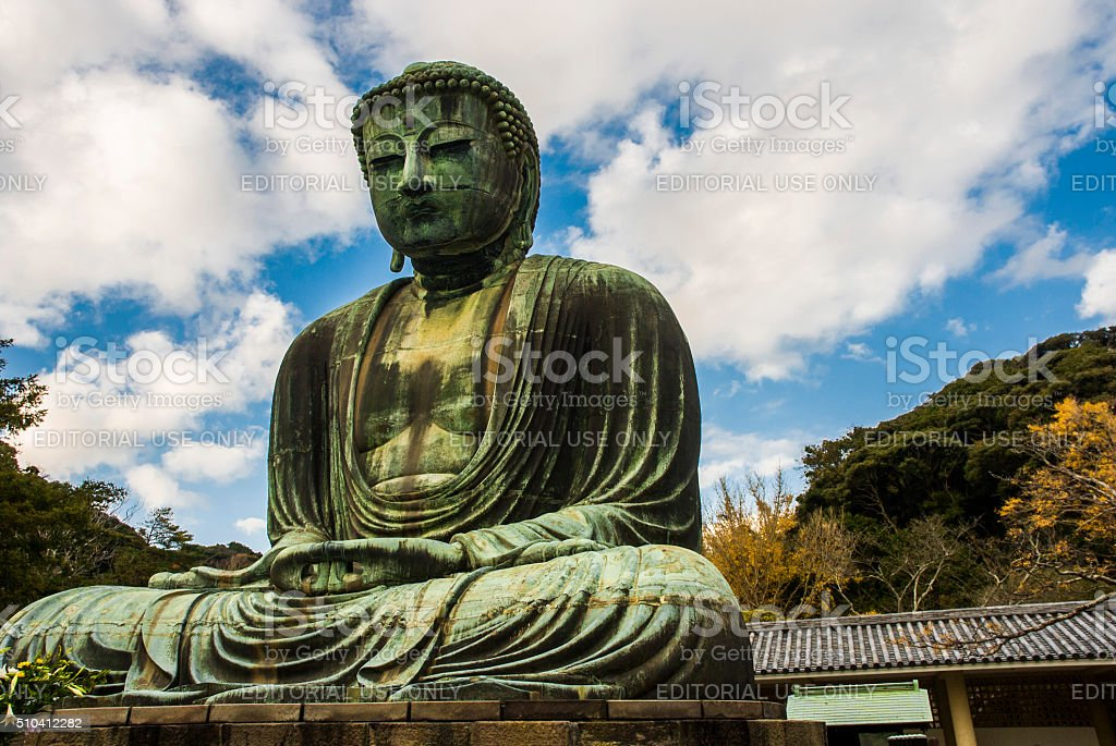 Great Buddha of Kamakura - Daytime - Right Side stock photo