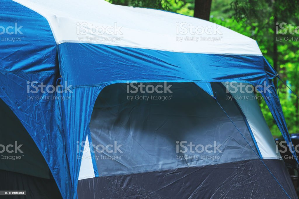 Great camping tent in rainy day. Tourist tents installed in the...