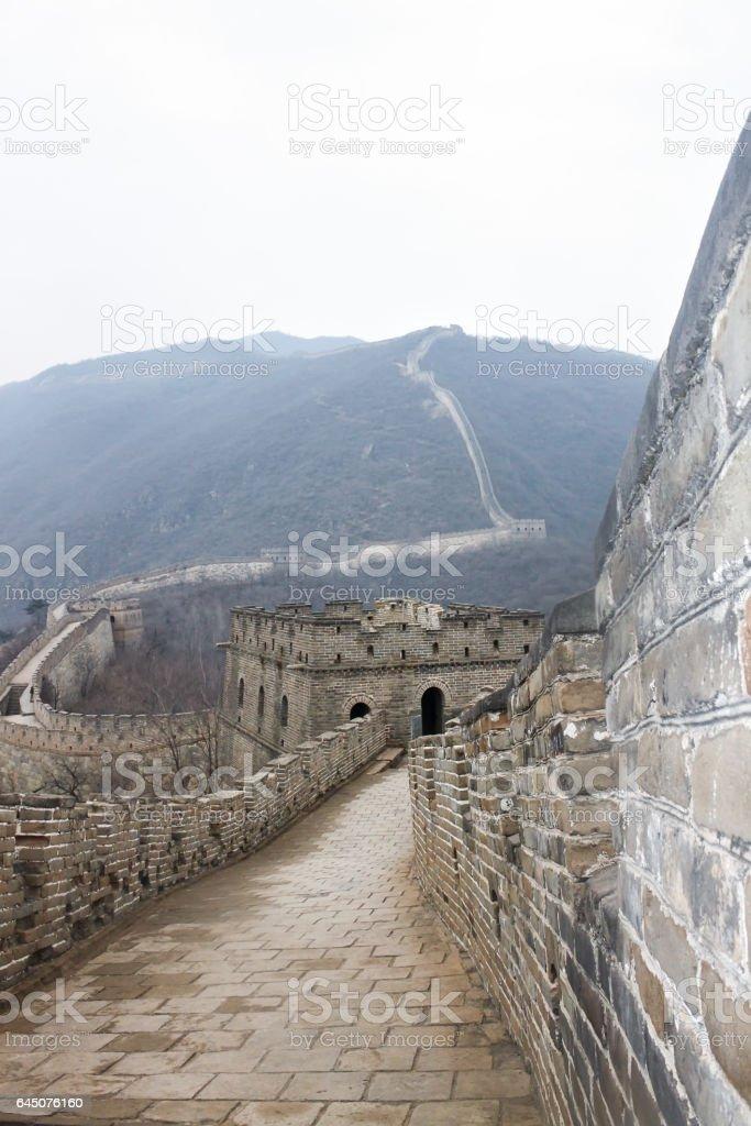 Great China Wall, Beijing, China, overcast day stock photo
