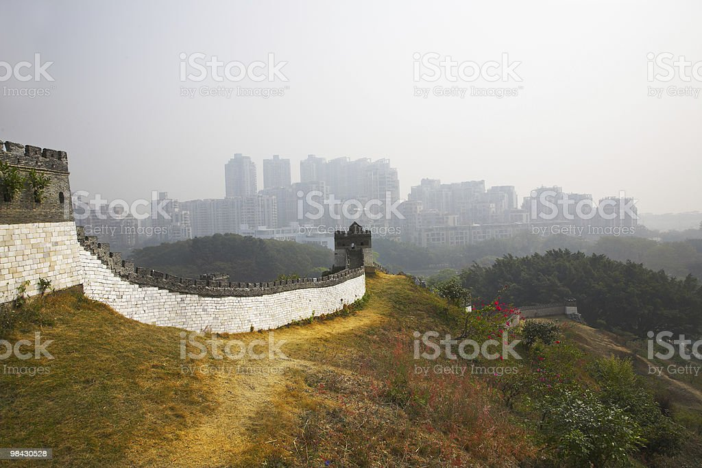 Great Chinese wall in the  park of entertainments royalty-free stock photo
