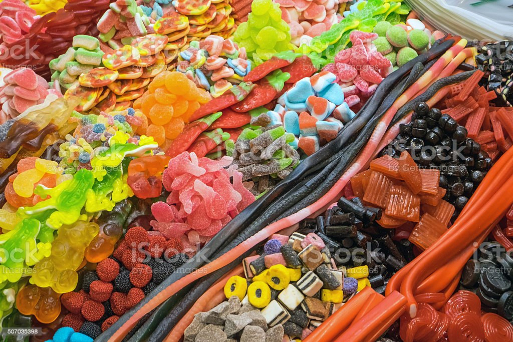Great choice of candy at a market stock photo