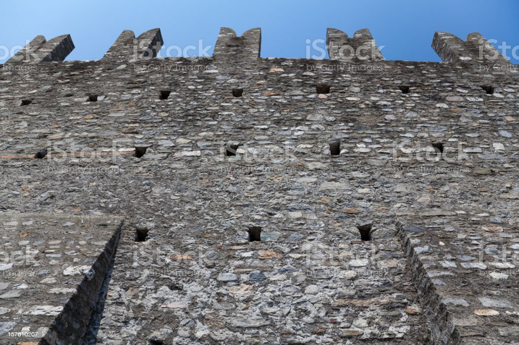 Great City Wall of Castelgrande, Bellinzona's Unesco World Heritage, Switzerland royalty-free stock photo