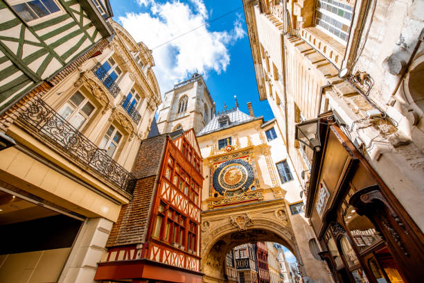 Great Clock in Rouen city, France Street view with famous Great Clock astronomical clock in Rouen, the capital of Normandy region in France normandy stock pictures, royalty-free photos & images