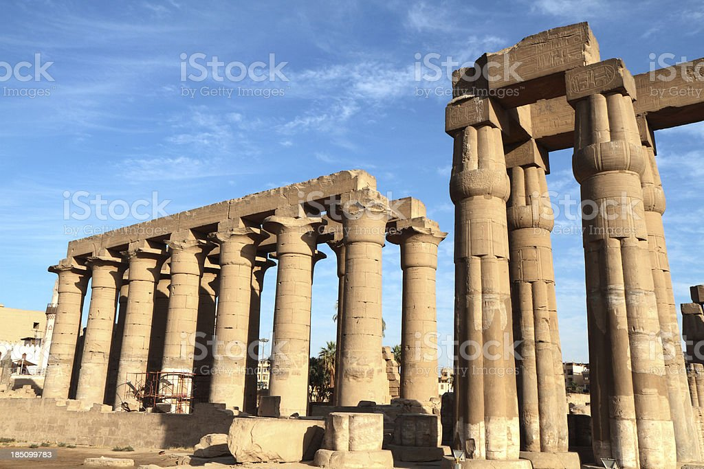 Great Colonnade and Court of Amenhotep III, Luxor Temple, Egypt stock photo