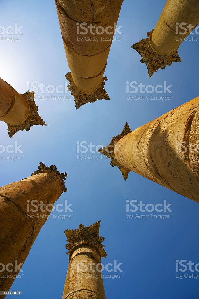 Great columns in Jerash royalty-free stock photo
