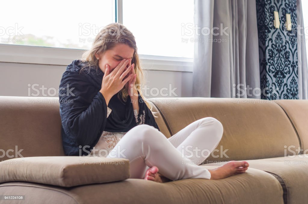 Great concept of allergy, rhinitis, cough. stock photo