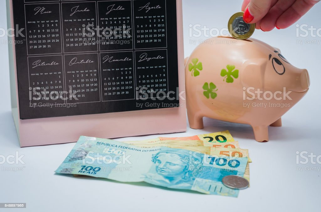 Great concept of economy piggy bank stock photo