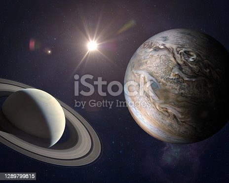 Great Conjunction: Jupiter and Saturn Meet on Solstice. Rare Jupiter-Saturn Conjunction. Elements of this image furnished by NASA. ______ Url(s):  https://images.nasa.gov/details-PIA22949 https://solarsystem.nasa.gov/resources/17549/saturn-mosaic-ian-regan Software: Adobe Photoshop CC 2015. Knoll light factory. Adobe After Effects CC 2017.