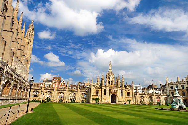 great court of trinity college, cambridge, uk - cambridge university stock photos and pictures