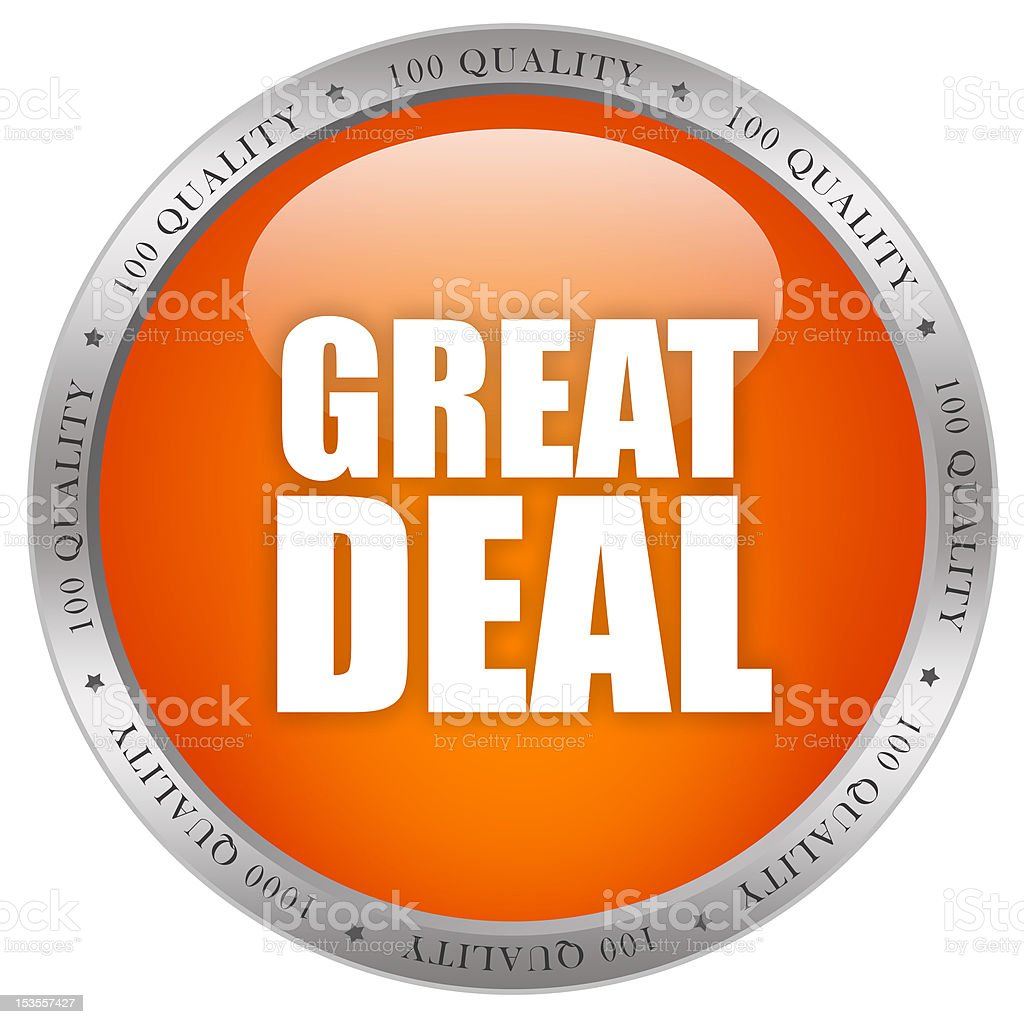 Great deal button stock photo