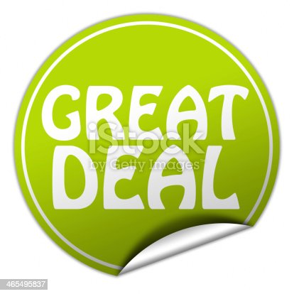 488279375 istock photo great deal round green sticker on white background 465495837