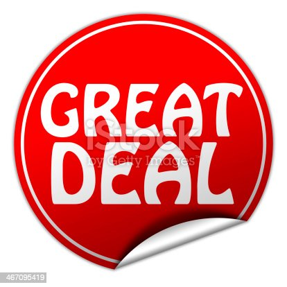 488279375 istock photo great deal round red sticker on white background 467095419