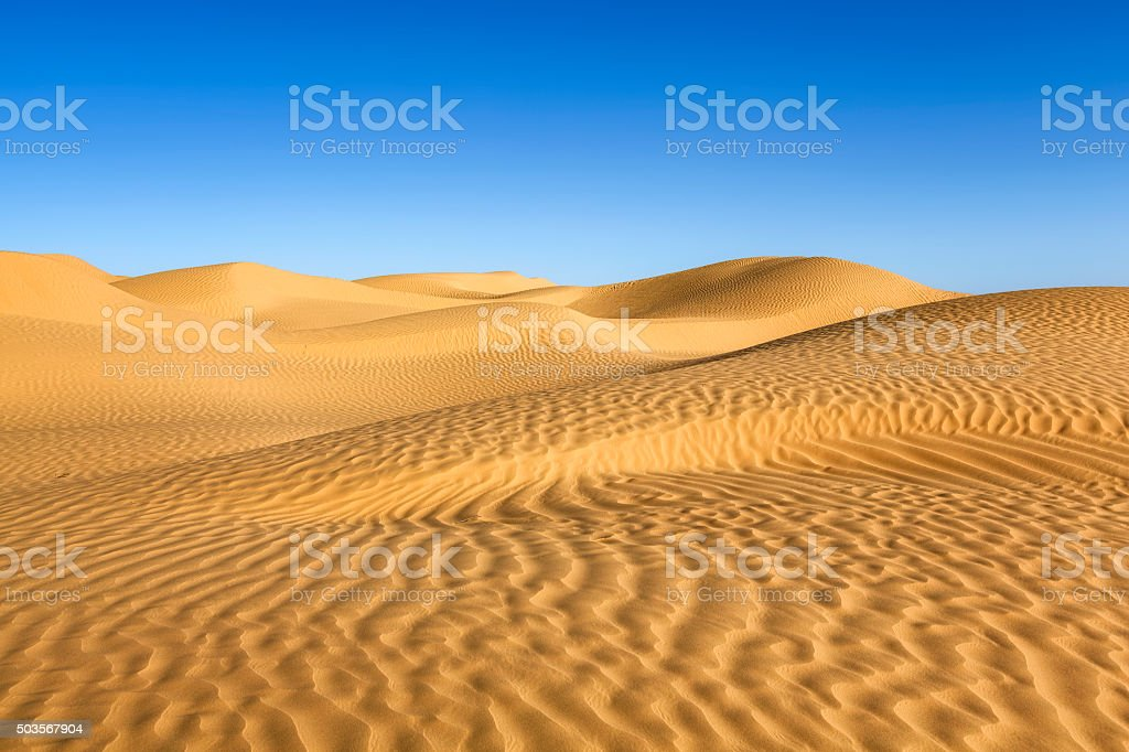 Great Eastern Sand Sea in the Sahara of Tunisia stock photo