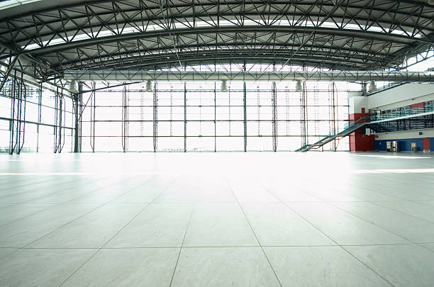 Great  Empty Hall Empty airport hall airplane hangar stock pictures, royalty-free photos & images