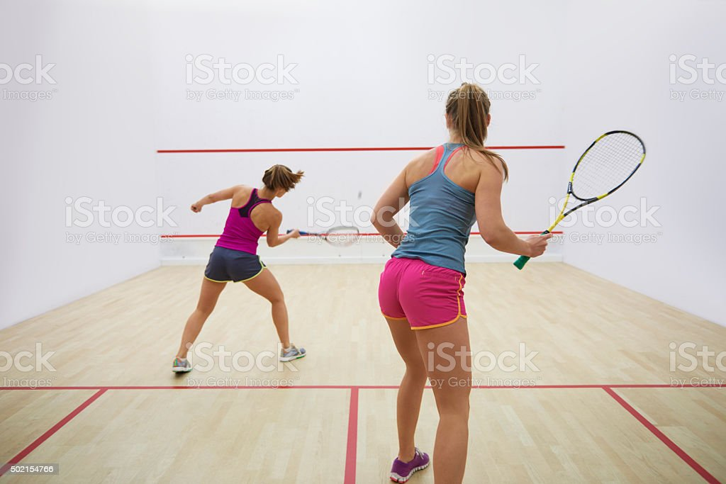 Great endurance of two squash players stock photo