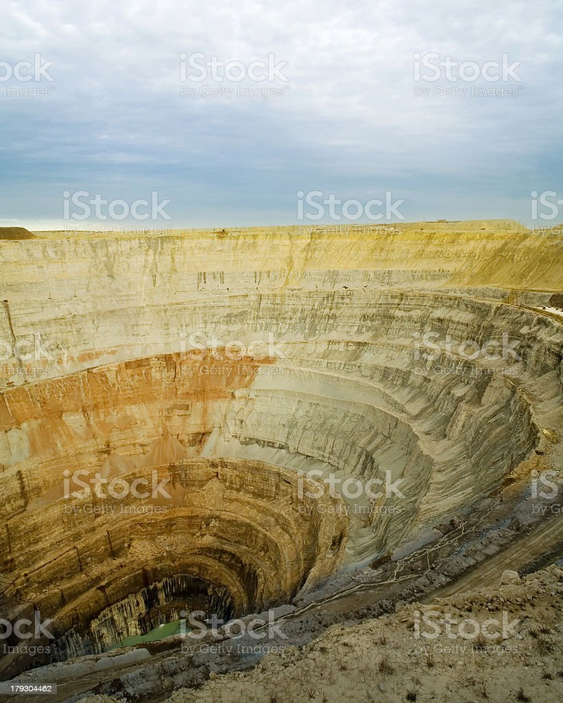 Great excavated pit stock photo