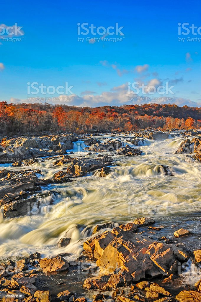 Great Falls Maryland in Autumn stock photo
